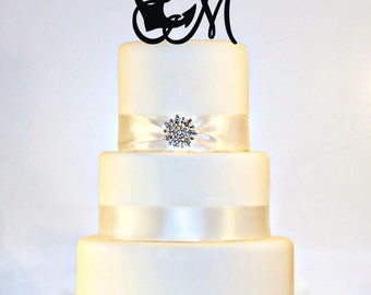 Anchor Wedding Cake Topper Monogram with your initial in ANY LETTER A B C D E F G H I J K L M N O P Q R S T U V W X Y Z
