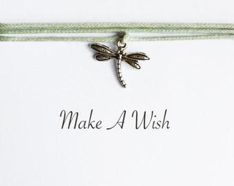 Make A Wish Dragonfly Bracelet - Bohemian Jewellery, Friendship Bracelet, Boho Style, Odonata, Wishing Charm