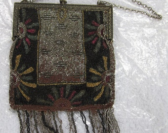 Art Deco beaded purse with chased metal frame-1920s