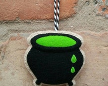 Felt witch's cauldron Halloween ornament