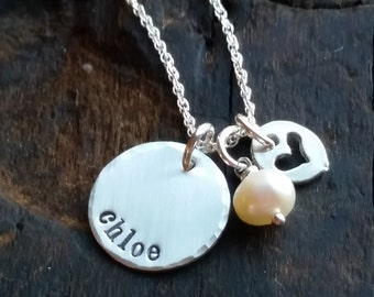Sterling Child Name Necklace  .  Personalized gift for Mom  on mothers d  .  Hand Stamped Jewelry Gift  .  Mothers Day Gift