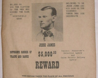 BIG 11 x 14 Jesse James Wanted Poster, old west, western, outlaw