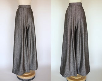 1970s Silver lurex palazzo pants, high waist, pleated bell bottoms, metallic, glitter trousers, Small