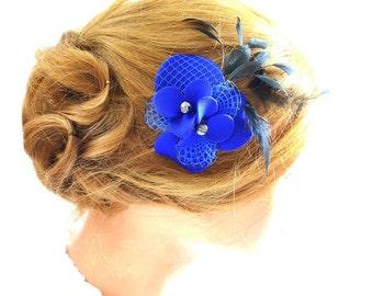 Royal blue fascinator Bridal hair clip Bridal feather clip Wedding headpiece Bridesmaid hair piece Wedding hair accessories