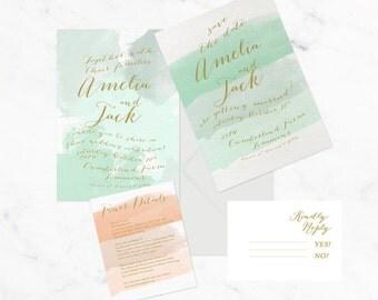 The Amelia Suite || Save the date, watercolour brush strokes, customizable colours, gold, script