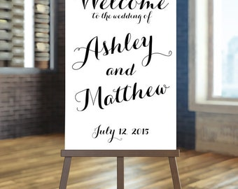 Printable Wedding Sign, Welcome Wedding Sign, Black and white wedding Sign, Elegant wedding sign, Calligraphy Wedding Sign, Custom sign