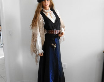 Victorian- Steampunk- Wild West Steampunk- Complete Clothing Outfit Stage Costume Hat/Skirt/Blouse/Belt/Vest/Shawl and Keys Size 13-14 L