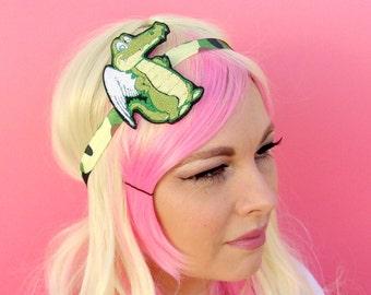 Sassy Winged Alligator - Swamp Family - Swamp Life - Winged Gator - Womens Headband - Headbands For Women - Camo Headband- Unique Headbands