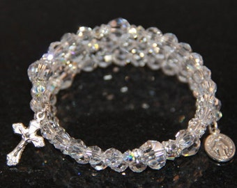 Catholic Swarovski Crystal Wrap Rosary Bracelet