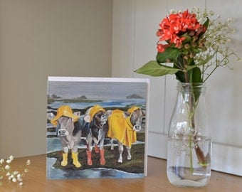 Cow notecards 4 pack -funny card -Nice Weather for Ducks Cow - Cows in Wellies - Charity Card - Thank you card