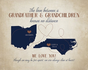 Gifts for Grandpa, Grandfather and Grandchildren Long Distance, Gift for Father In Law, Retirement, Grandpa, Grandkids Moving | WF127
