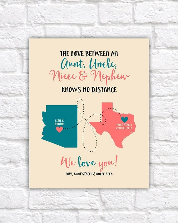 Aunt Uncle Niece Nephew Gifts Custom Maps Long Distance