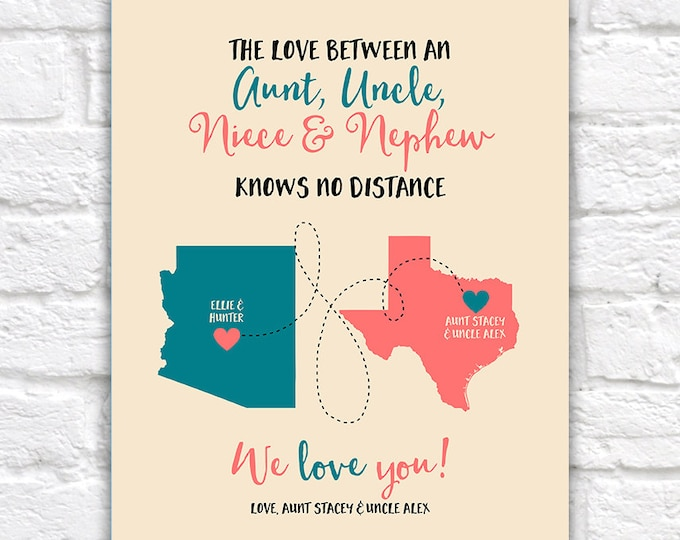 Featured listing image: Aunt, Uncle, Niece, Nephew Gifts, Custom Maps, Long Distance Family, Christmas Gifts for Aunt and Uncle, Living Far, Birthday | WF267