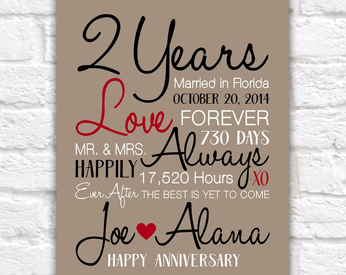 2 Year Anniversary Gifts, 2nd Anniversary, Celebrating Second Year of Marriage, Wedding Anniversary Gifts, Canvas Anniversary Sign | WF518