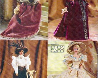 Vogue 622, Fashion  Doll Size Period Costume Doll Clothes Sewing Pattern, 3 Victorian Dress a Lacy Blouse Skirt, Bustle, For 11.5 Inch Dolls