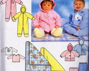 Simplicity 7807, Newborn Baby to 24 Pound Baby, Fleece Romper, Jacket, Pull On Pants and Pullover Top Pattern, Fleece  Wear, Fleece Blanket