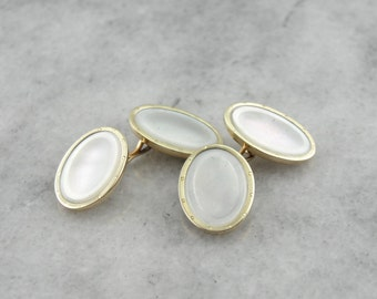 Father of the Bride, Mother Of Pearl: Antique Cufflinks in Gold NNLKNH-N