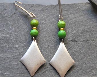 Long boho earrings, Green Howlite earrings, Geometric dangle earrings, Gemstone earrings, Silver rhombus earrings, Ethnic jewelry, 1133S