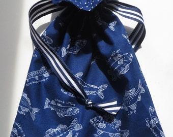 Navy Fish Themed Lined Drawstring Fabric Gift Bag