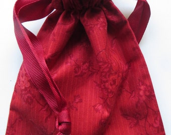 Red Floral Lined Drawstring Fabric Gift Bag or Jewelry Bag