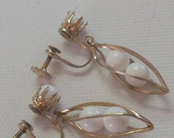 Designer Vintage Coro Earrings, Coro Milk Bead Earrings, Signed Jewerly, Coro Screwbacks Earrings, Vintage Coro Jewelry
