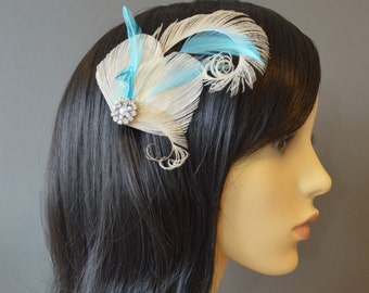 Cream Turquoise Blue Peacock Feather Hair Clip Nude Ivory Fascinator 1920s Flapper Bridesmaids Accessory Pearl Crystal Wedding 'Adeline'