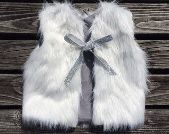SALE! White fuax fur vest- baby to toddler sizes, made to order