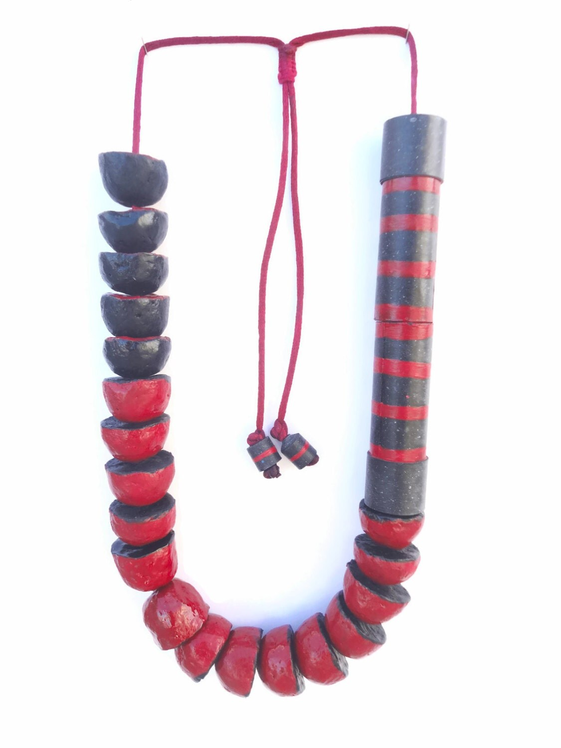 Eco friendly jewelry paper mache necklace with big red and for How to make paper mache jewelry
