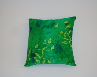 Unique hand painted green leaf decorative pillow/cushion