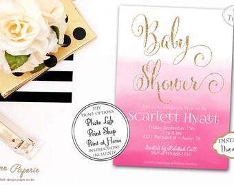 INSTANT DOWNLOAD - Pink Ombre Baby Shower Invitation - Ombre Watercolor - Water color invite - It's a Girl Invitation - Gold Glitter - 0175