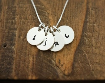 Initial Necklace, Sterling Silver Hand Stamped, Personalized Initial Necklace, Four Initials
