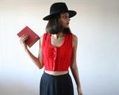 Vintage red vest Knitted crochet vest genuine Cropped vest Boho chic Urban indie vest Metallic buttons Top crop S/M 70's