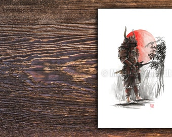 Samurai warrior, samurai poster, japanese warrior painting, watercolor portrait, surreal art, bamboo poster.