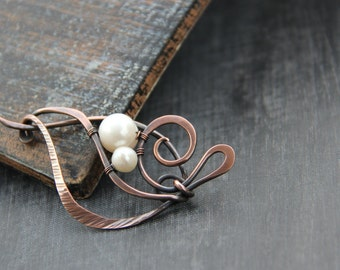 Shawl pin, scarf pin, sweater pin, brooch Flower pod, antique copper and pearl shawl pin, textured, hammered, wire wrap, knitting accessory