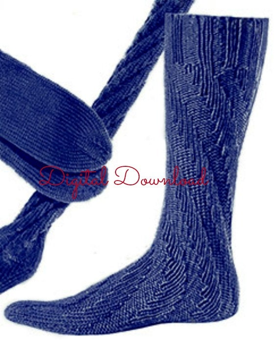 Spiral Socks Knitting Pattern : Mens Spiral Knit Sock Pattern No heel Sock Pattern War Era
