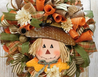 Scarecrow Deco Mesh Fall Front Door Wreath
