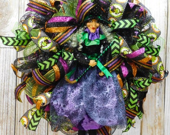 The Witch Is In - Halloween Purple Deco Mesh Wreath