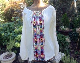 Vintage Peasant Blouse Heavy Embroidery Hippe Boho