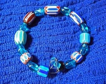 Beautiful Millefiori Blue Beaded Memory Wire Bracelet  (I 628)