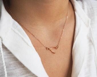 Rose Gold Wishbone Necklace, Sideways Wishbone, Lucky Rose Gold Necklace