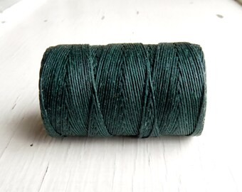Dark Racing Green Irish waxed linen cord 4ply (10 yards) - irish waxed linen cord, irish waxed linen thread dark forest green irish linen uk