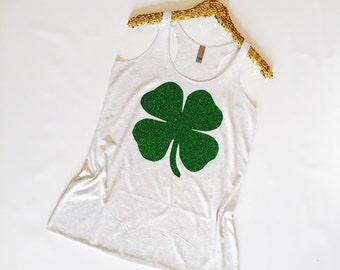 Shamrock Tank Top, St. Patrick's Day Shirt, Shamrock Shirt, Green Shirt, Four Leaf Clover Shirt, Cute St. Patrick, Shirt, St. Patrick's Day