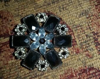 Vintage Black & Clear Rhinestone Brooch