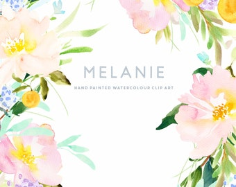 Watercolour Flower Clip Art Collection - Hand Painted Graphics - Melanie