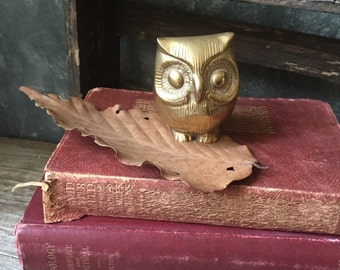 Vintage Solid Brass Owl Figurine: Brass Owl Paperweight for Home or Office