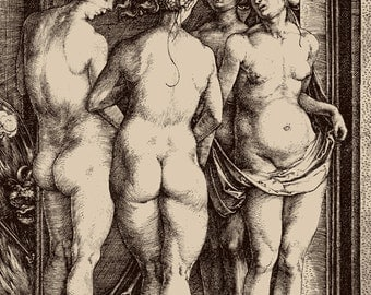 The Four Witches, Naked Women Albrecht Durer FINE ART PRINT, European vintage antique art prints, posters, paintings, engravings, drawings