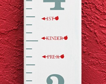 Height Marker for Growth Chart Ruler - Vinyl Decal Arrow with Apple - Measuring Mark