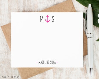 Personalized Stationary Set / Set of Flat Personalized Stationery Note Cards / Nautical Custom Printed Initial Thank You // ANCHOR MONOGRAM