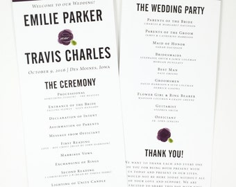 Printed Wedding Program, Simple Wedding Program, Watercolor Flower Elegant