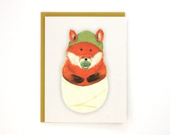 New Baby Fox - cute and whimsical fox baby greeting card / BAB-FOX
